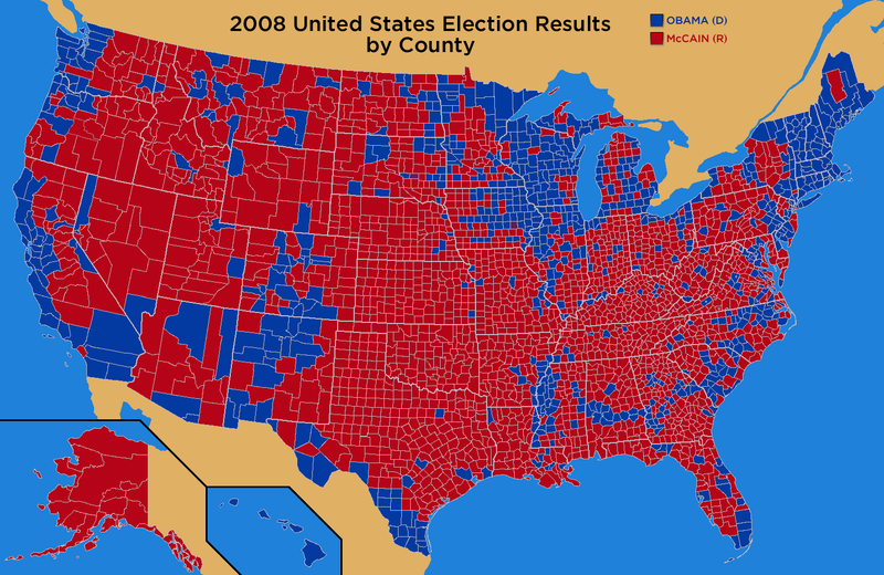 2008 US Presidential Election Results by County   The Domain for Truth