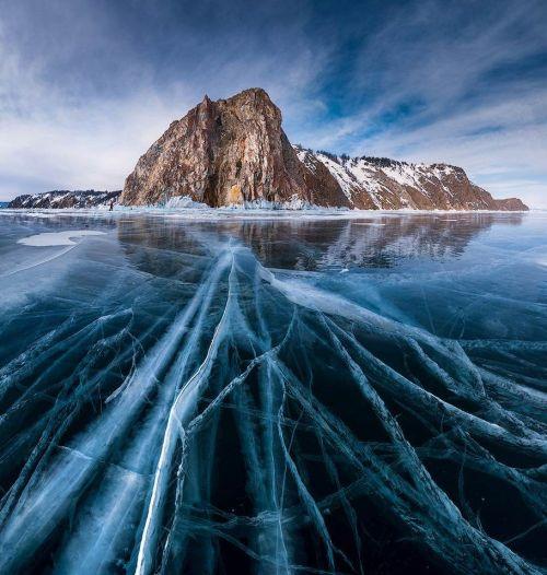 Cracked ice Lake Baikal Russia photo by Daniel Korzhonov