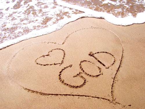 love god on sand