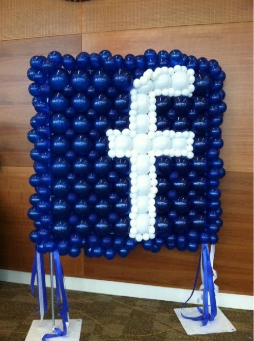 facebook logo balloons
