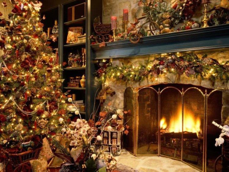 christmas home fireplace warm